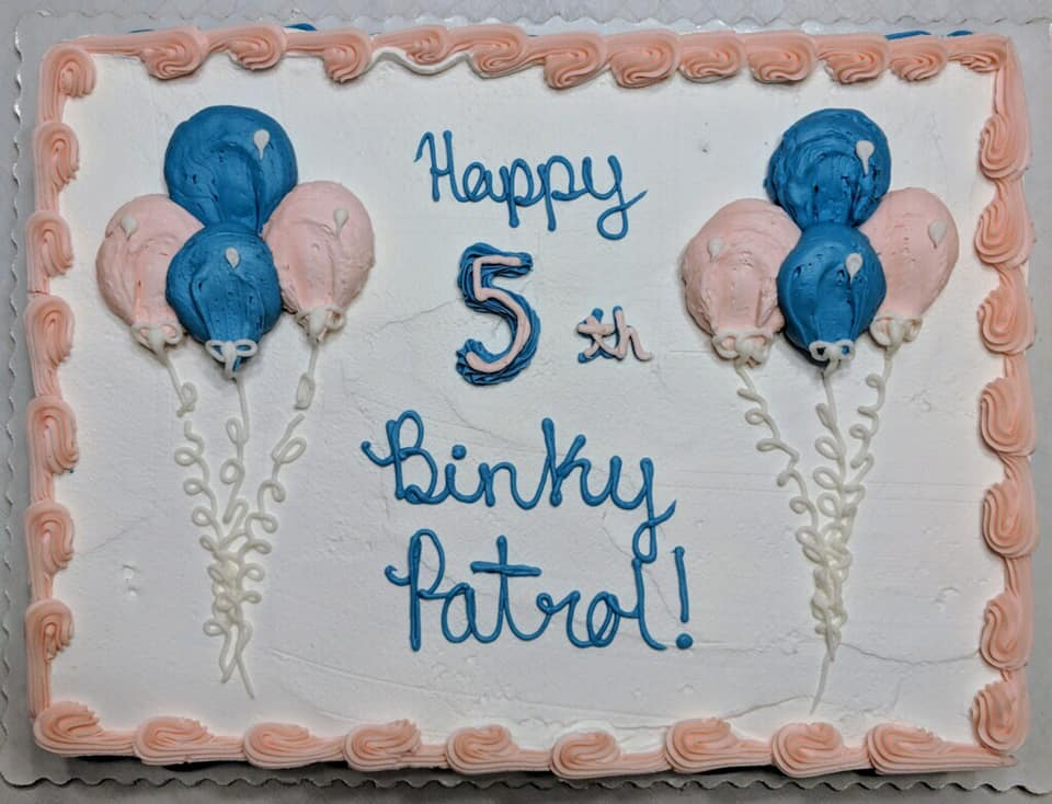 Binky Patrol Monroe-Trumbull, Connecticut celebrates 5 years - great cake!